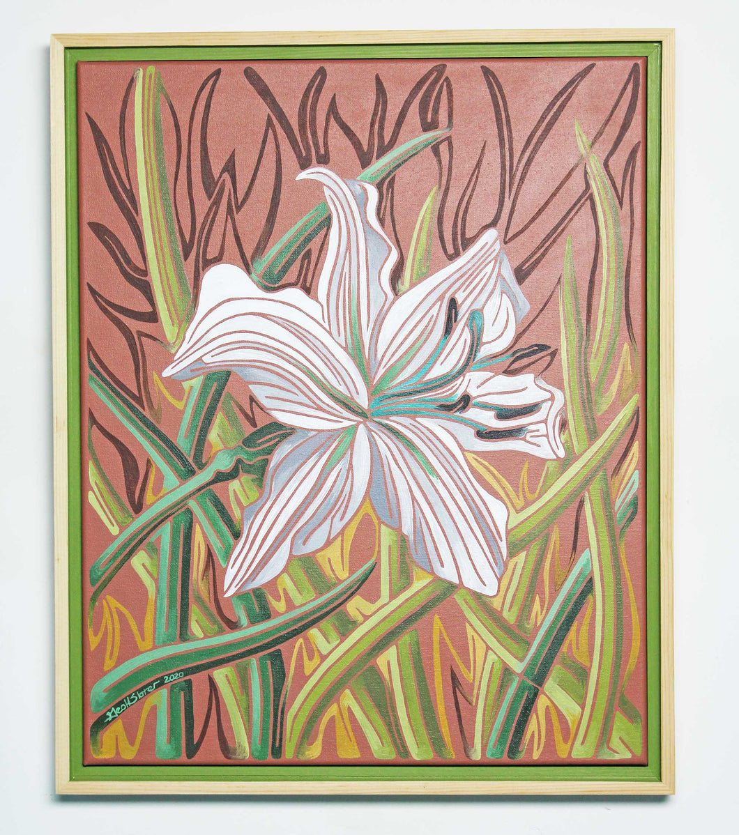White Lily Line Painting Geoff Slater