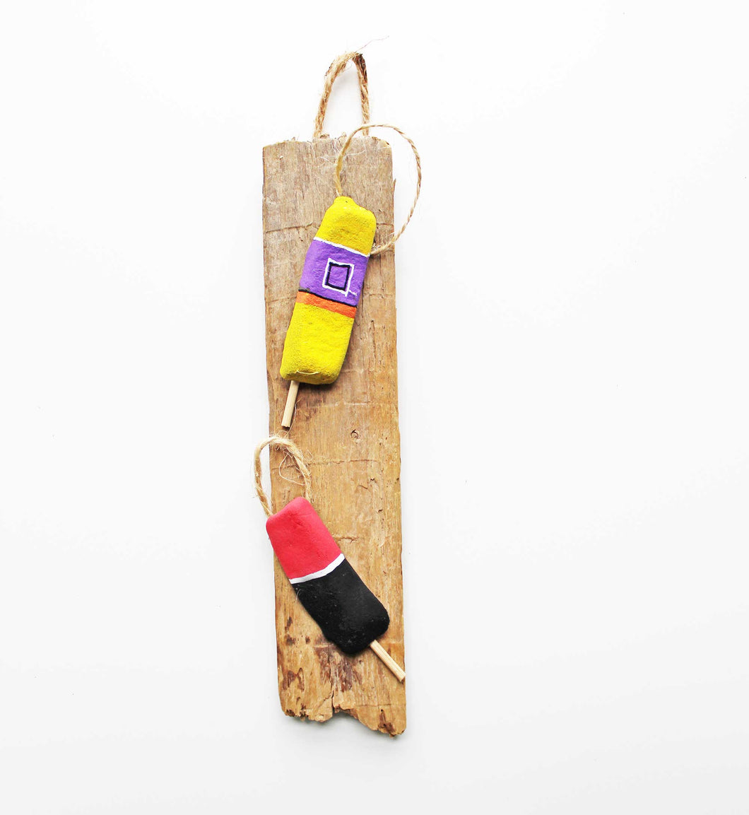 Driftwood & Rock Sculpture - Lobster Floats (Yellow/Pink)