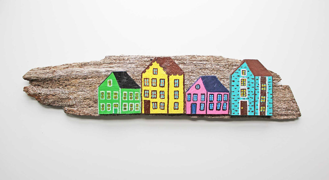 Fence & Driftwood Sculpture - Green/Yellow/Pink/Turquoise