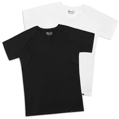 Men's sweat proof undershirts:  2 Pack: 1 white shirt and 1 black shirt (V-neck) relaxed fit by TR+O. An innovation in sweat proof technology and comfort.