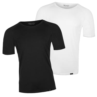 Men's sweat proof undershirts:  2 Pack: 1 white shirt and 1 black shirt (round-neck) slim fit by TR+O. An innovation in sweat proof technology and comfort.