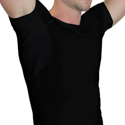 Men's Sweat Proof Undershirt Black - Crew Neck - Relaxed Fit by TR+O