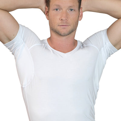 Men's Sweat Proof Undershirt - White - V-Neck - Slim Fit by TR+O