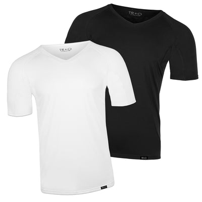 Men's sweat proof undershirts:  2 Pack: 1 white shirt and 1 black shirt (V-neck) slim fit by TR+O. An innovation in sweat proof technology and comfort.