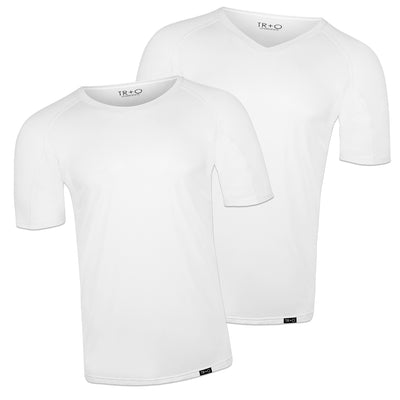 Men's sweat proof undershirts:  2 Pack - White: 1 crewneck and 1 v neck -  Slim Fit by TR+O. An innovation in sweat proof technology and comfort.
