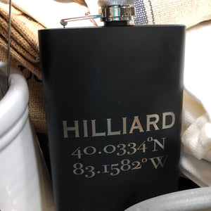 Stainless Steel and Black Flask