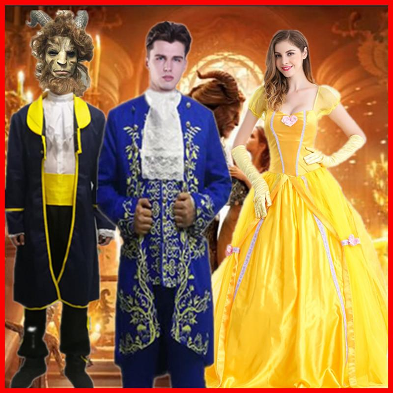 Beauty And The Beast Belle Prince Costume Women And Man Halloween Cosplay