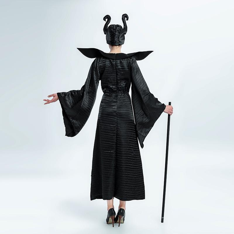 Maleficent Witch Costume Black Dress Halloween Cosplay