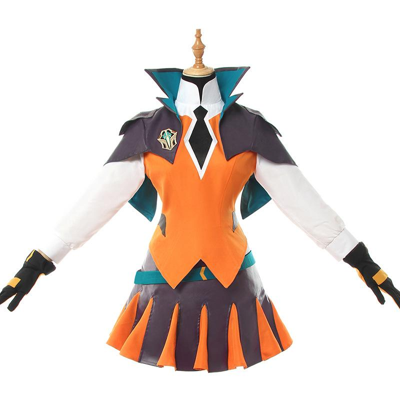 League Of Legends Battle Academy Luxanna Crownguard Costume Dress Girls Game Cosplay
