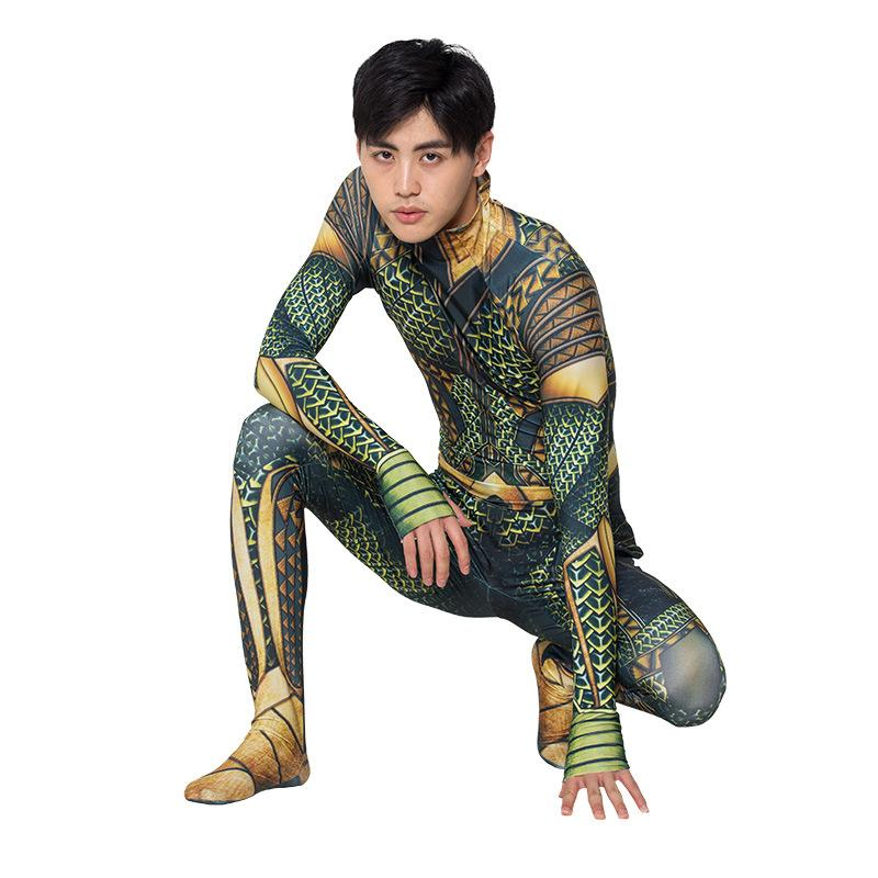 Aquman Golden Jumpsuit Superhero Costume Halloween Cosplay