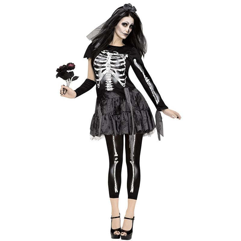 Halloween Ghost Bride Dress Skull Costume Women Cosplay