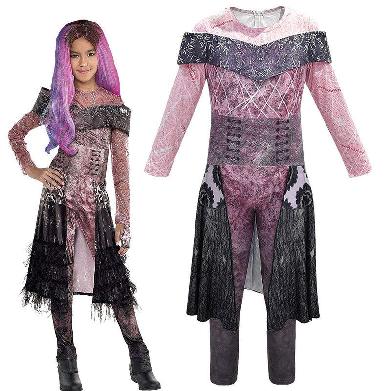 Descendants 2 Mal Bertha Maleficent Cosplay Cosplay Jumpsuits Halloween Costume For Kids
