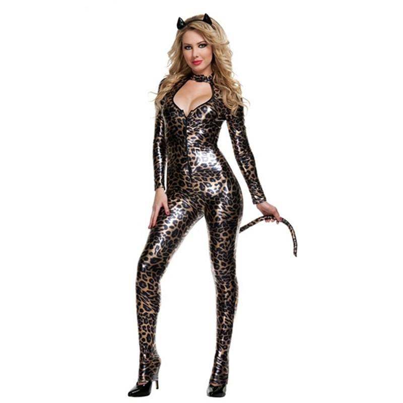 Women Leopard Print Jumpsuit Costume Cat Woman Cosplay