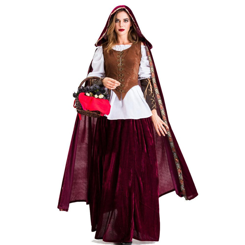 Gothic Wind Cloak Little Red Riding Hood Fairy Tale Drama Performance Stage Costume
