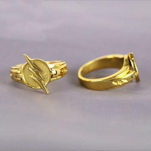 The Flash Ring Can Open Cover Lightning Logo Superhero DC Comics Jewelry Cosplay