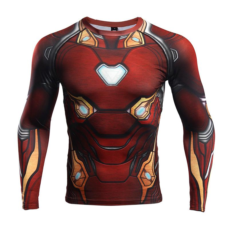 Avengers: Endgame Costume Iron Man Tony Stark T-shirt Cosplay Costumes Top Men Tights Sports Love You Three Thousands Times