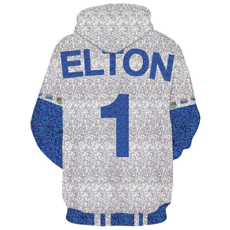 2019 Rocketman Elton John Dodgers Hoodie Zip Up Sweatshirt Jacket Cosplay Costume