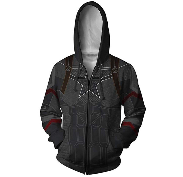 Captain Avenger Alliance 3D Printed Zipper Hoodie Hat Guard