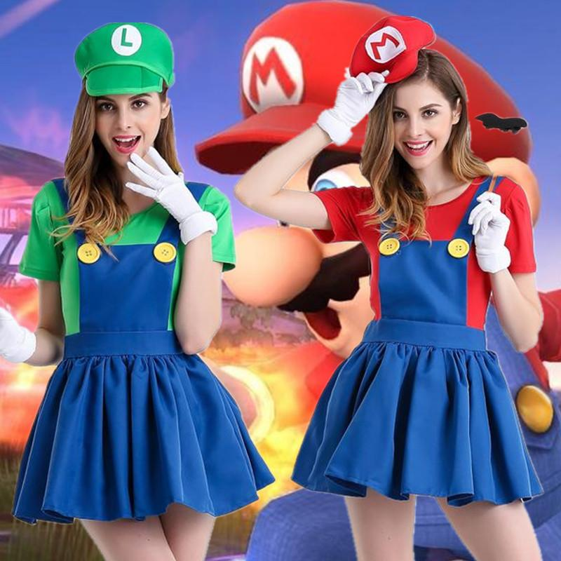 Mario Cosplay Anime Game Uniform Role Playing Super Mary Halloween Costume