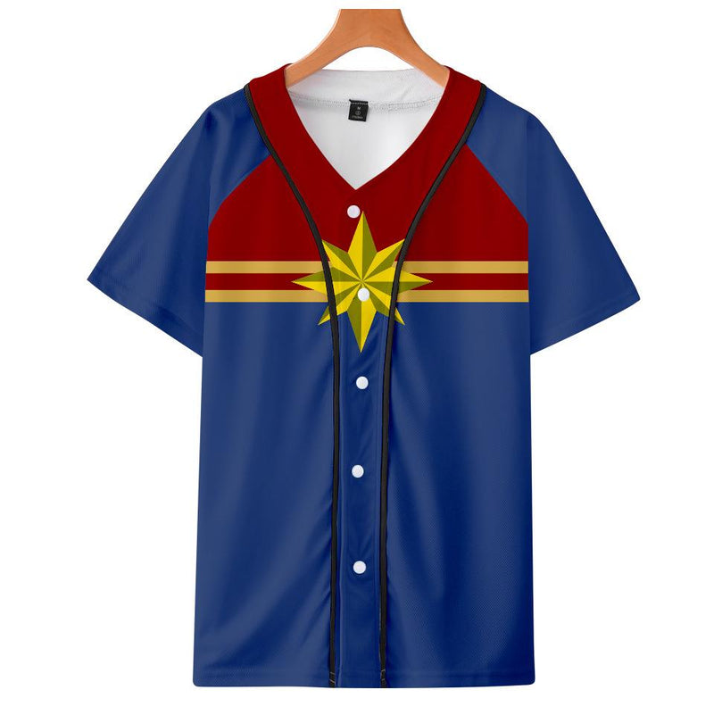 Captain Marvel T-Shirt - Carol Danvers Graphic Button Down T-Shirt CSOS933