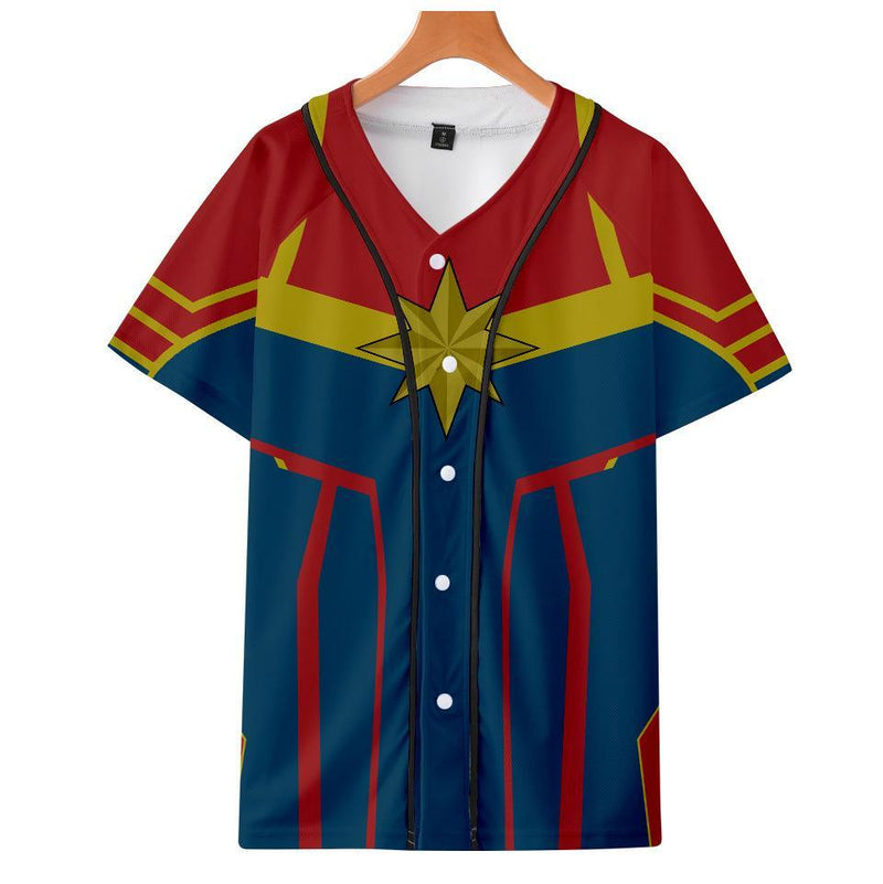 Captain Marvel T-Shirt - Carol Danvers Graphic Button Down T-Shirt CSOS934