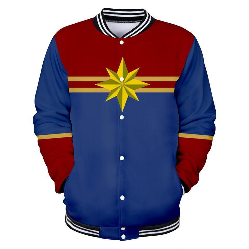 Captain Marvel Jacket - Carol Danvers Baseball Jacket CSOS911