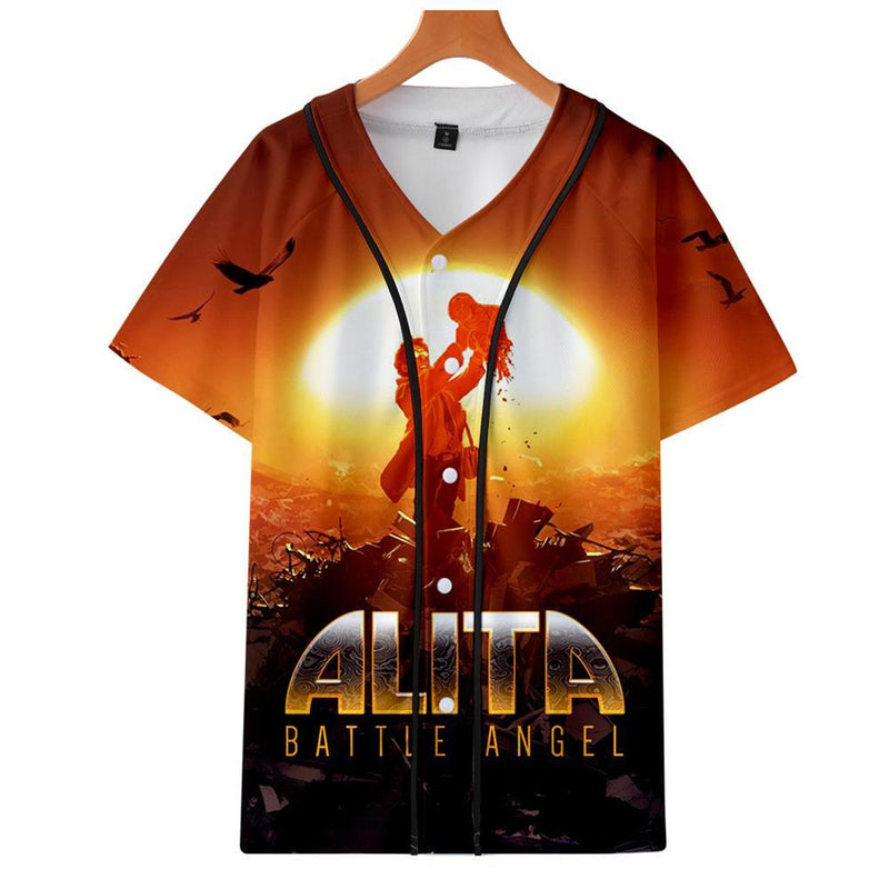 AlitaT-Shirt - Battle Angel Graphic Button Down T-Shirt CSOS994