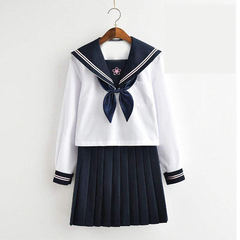 Blue Goldfish Knot Cherry White Sailor Suit Long Sleeve Jk Uniform Blue Skirt Full Set