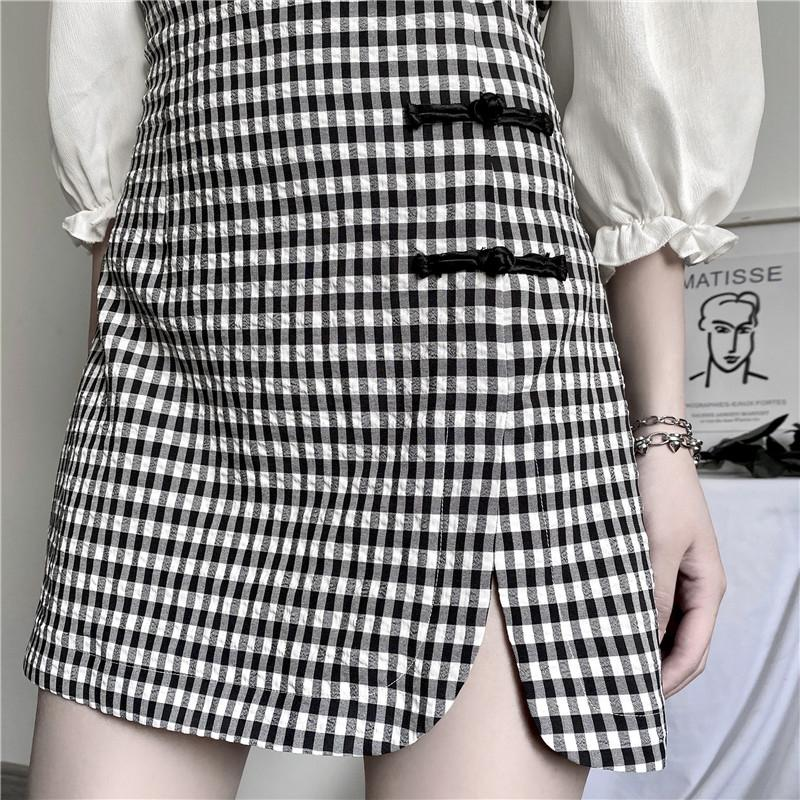 Black and White Plaid Cheongsam Dress SD00376