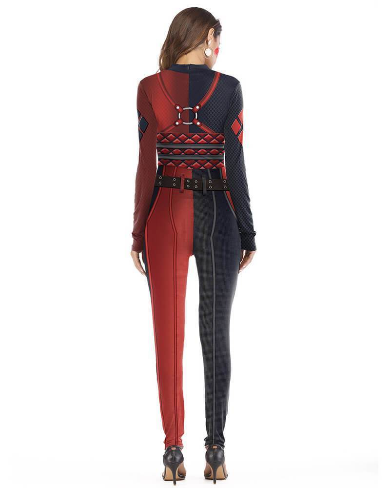 Harley Quinn Suicide Squad Fancy Catsuit Halloween Bodysuit Costume