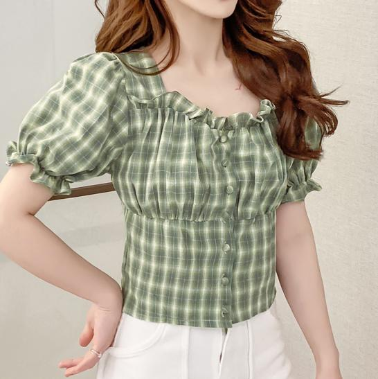 Green plaid Crop Top SD00337