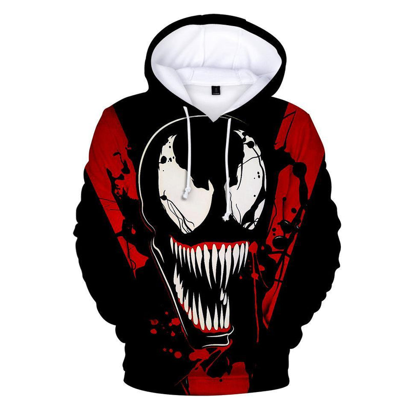 Venom 3D Printing Fashion Long-Sleeved Hooded Sweater For Men
