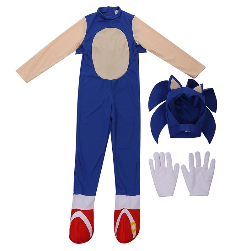 Childs Awesome Speedy Blue Heroic Hedgehog Video Game Character Sonic Faster Trick Or Treater Kids Halloween Costume