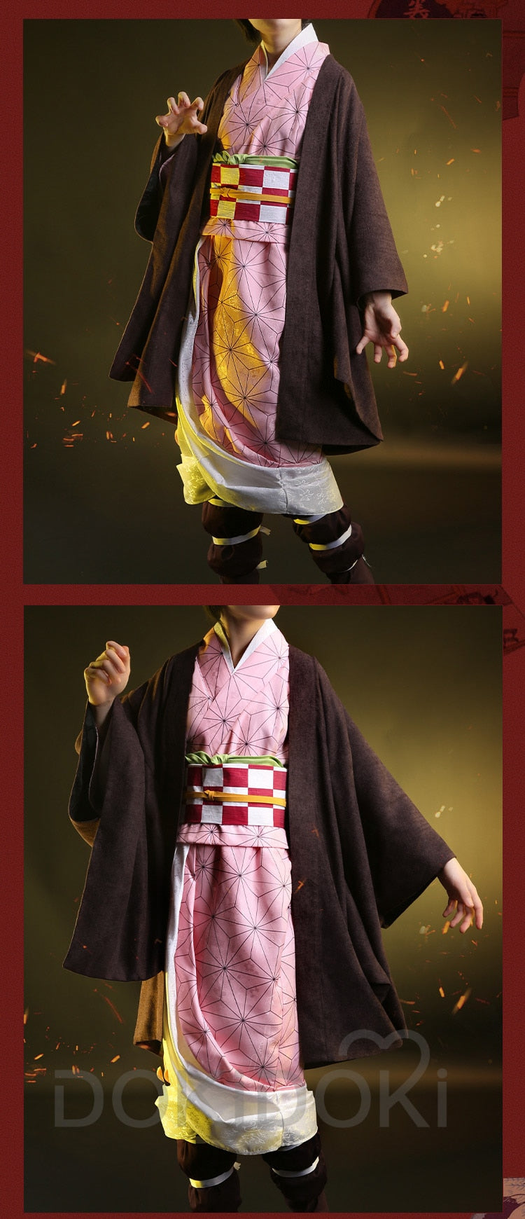 DokiDoki-SR Anime Demon Slayer: Kimetsu no Yaiba Cosplay Costume Kamado Nezuko Cosplay Anime Kimetsu no Yaiba Costume Women