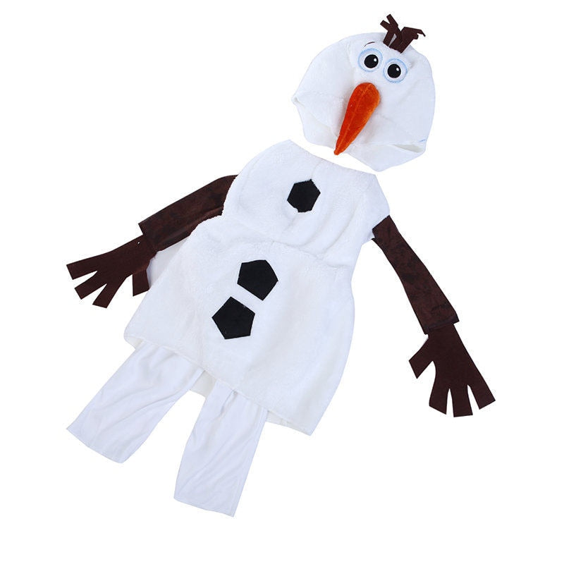 Comfy Deluxe Plush Adorable Child Olaf Halloween Costume For Toddler Kids Favorite Cartoon Movie Snowman Party Dress-up
