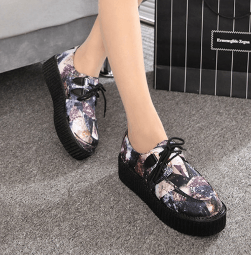 Black Cosmic Art Platform Creepers Shoes SD00170