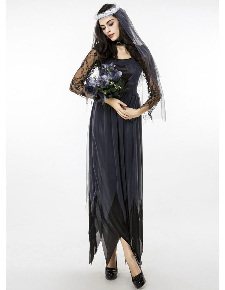 Black Corpse Bride Womens Halloween Costume Witch Dress