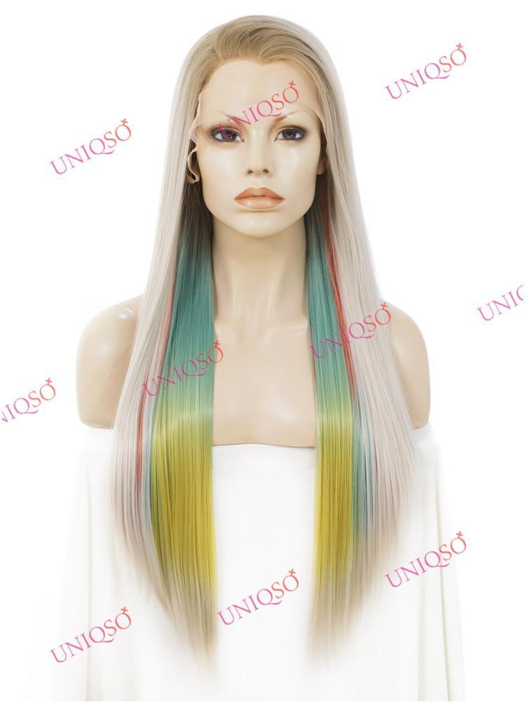 Premium Wig - Strawberry Blonde with Aqua Mint Under Lights Lace Front Wig