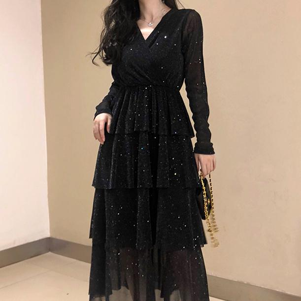 Black Mesh Long Ruffle Skirt Dress SD00493