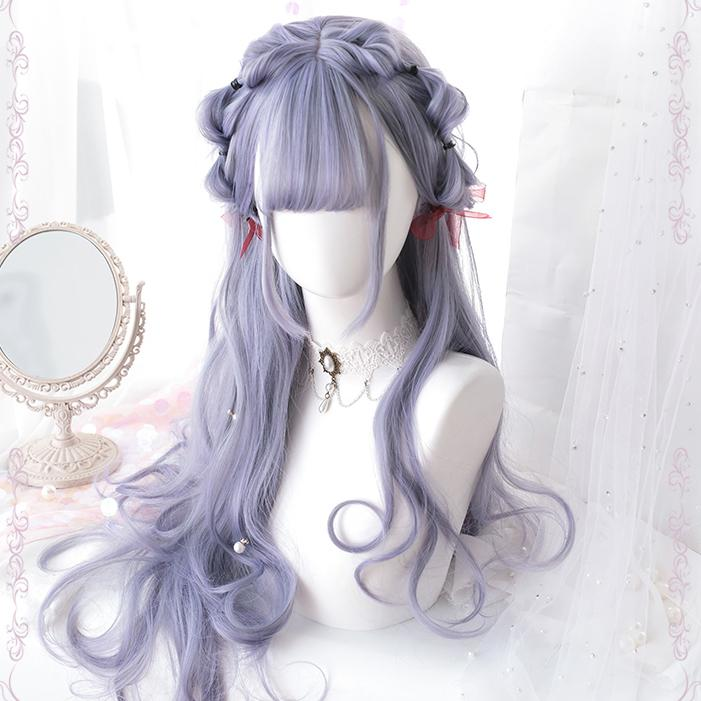 Gradient Grey Curly Lolita Long Wig SD00444
