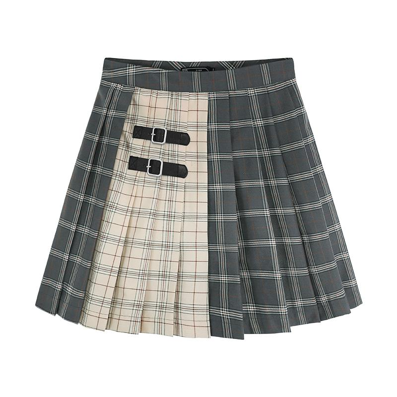 Double Color Strap Plaid Pleated Skirt SD01721