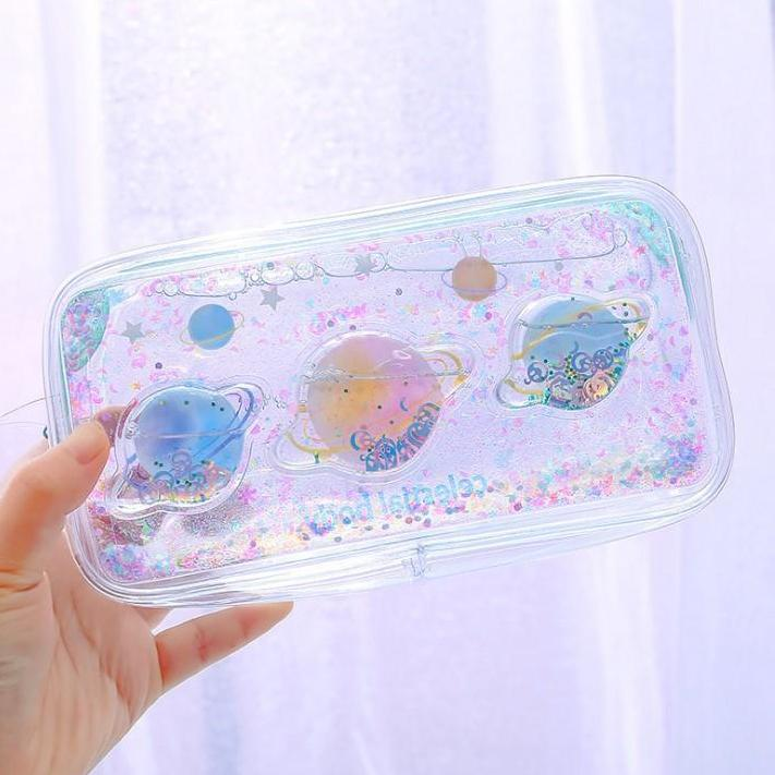 Transparent Planet Glitter Pencil Bag SD02223
