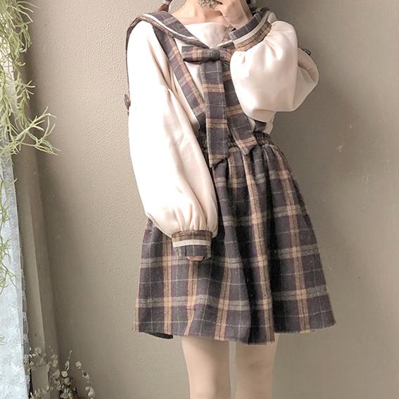 Plaid Lantern Sleeve Skirt/Sweater SD00082