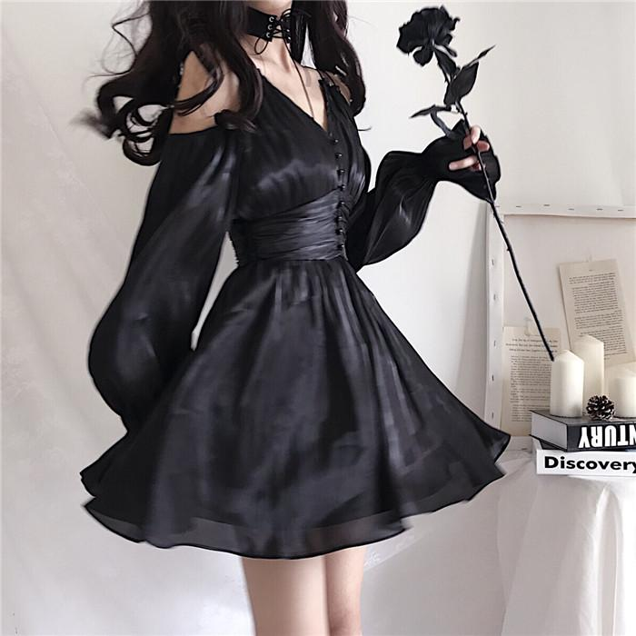 Double Shoulder Strap Lantern Sleeve Dress SD00990
