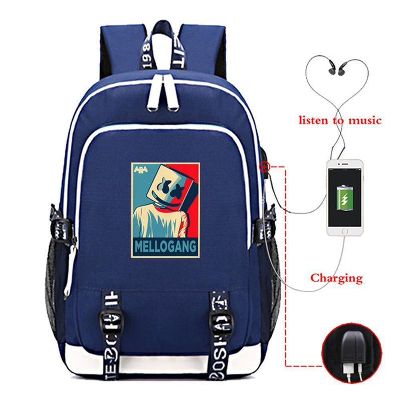 Marshmello Travel Backpack With USB Charging Port CSSO159