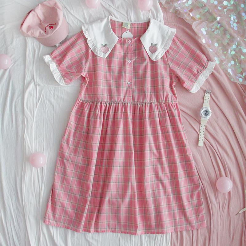 Peachy Mori Plaid Dress SD00550
