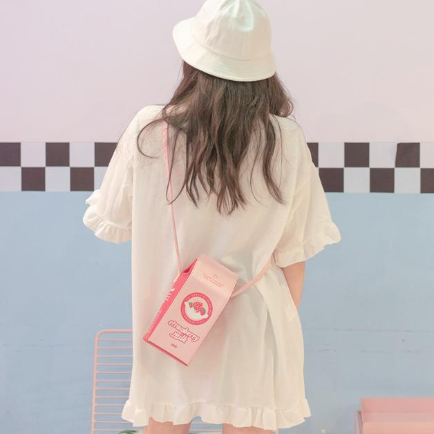 Pastel Pink Strawberry Milk Carton Bag SD01790