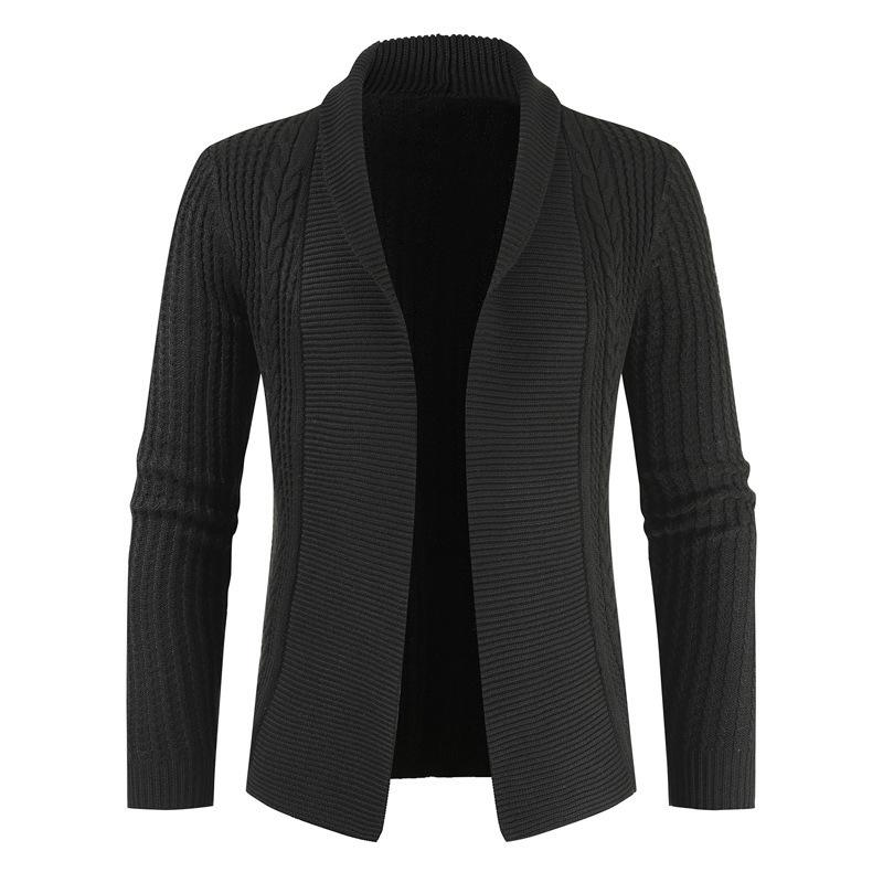 New Men Fashion Slim Solid Color Lapel Knitted Cardigan Sweater