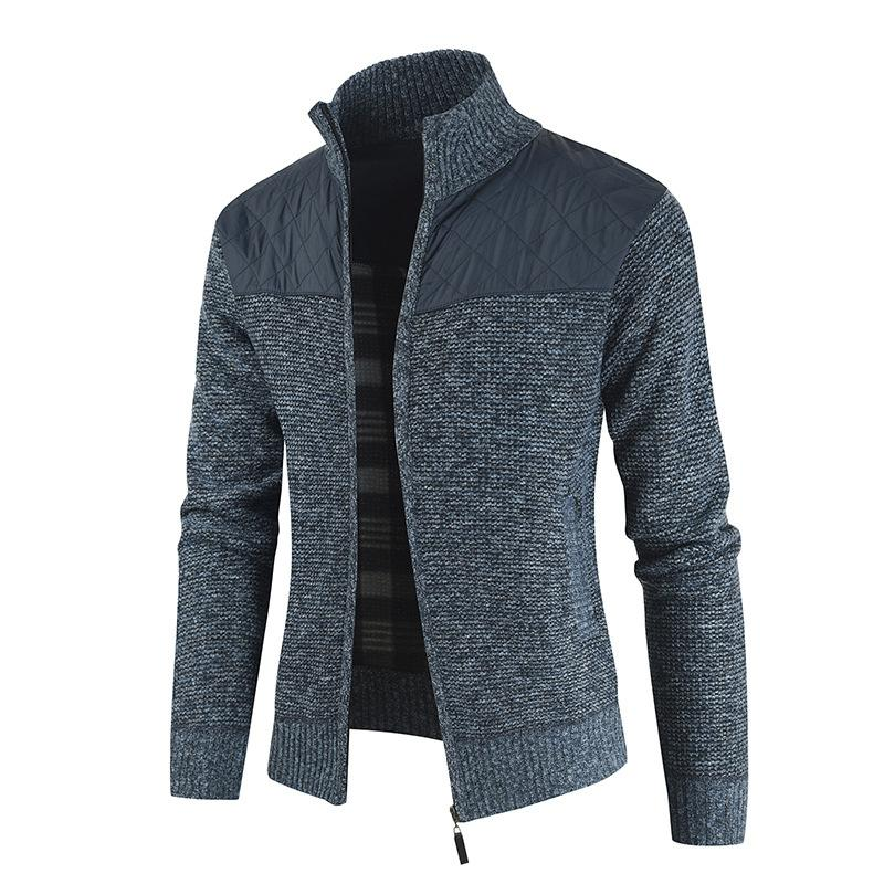 2020 Men Fashion Patchwork Color Zipper Thick Knitted Cardigan