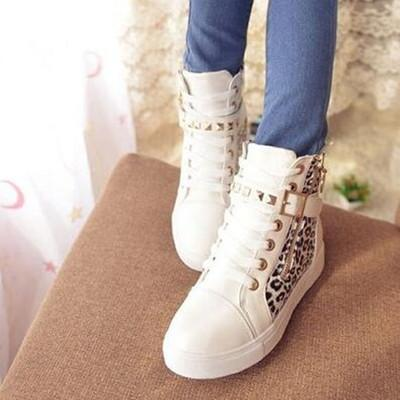 Black/White Leopard Straps Studs Sneakers Shoes SD02313